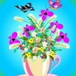 Cup with flowers, — Stock Vector