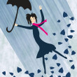 Rainy girl, — Stock Vector
