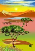 On the savanna — Stock Vector