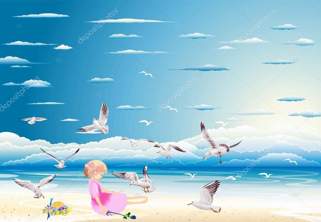 girl on the beach surrounded by seagulls — Stock Vector #20804859