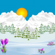 Royalty-Free Stock Vector Image: Trailers spring in the mountains