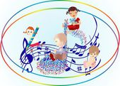 Children's day with a song — Stock Vector