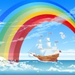 Stock Vector: Sailboat and rainbow