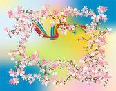 Lente struikbahar çalı, — Stockvector