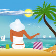 On the beach, — Stock Vector