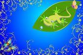 Gecko and butterflies, — Stock Vector