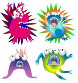 Monsters, viruses and bacteria, — ストックベクタ