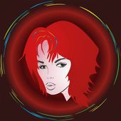 Girl with red hair, — Stock Vector