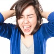 Young stress woman going crazy pulling her hair in frustration o — Stock Photo #46683187