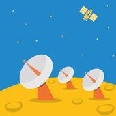 Satellite base station on planet scene. — Stock Vector