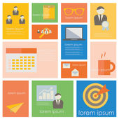 Business management and office life icon set. — Stock Vector