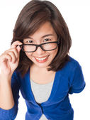 Woman wearing glasses looking up happy smile . — Stock Photo