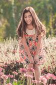 Beautiful Woman With Gerbera Flower — Stock Photo