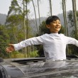 Happy boy travel in car — Stock Photo