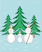 Three snowballs in a wood. — Stock Vector