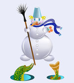 The snowman gives a gift. — Stock Vector