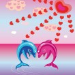 Two enamoured dolphins. — Stock Vector #12245006