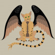 Winged cat. — Stock Vector