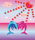 Two enamoured dolphins. — Stock Vector