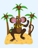 Monkey and different sunglasses. — Stock Vector