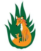 Fiery fox mother — Stock Vector