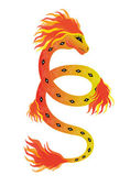 Fiery snake — Stock Vector
