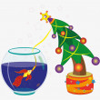 Royalty-Free Stock Vektorfiler: Goldfish and Christmas fir-tree.