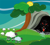 The wolf hunts on sheep. — Stock Vector
