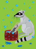 The raccoon washes clothes. — Stock Vector
