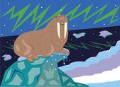 The walrus on lies on an ice floe. — Stock Vector
