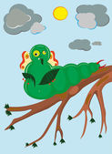 The caterpillar eats up leaves. — Stock Vector