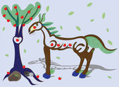 Wooden horse and apple-tree. — Stock Vector