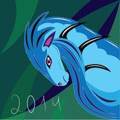 Blue horse of winter — Stock Vector