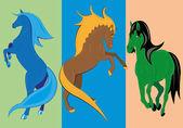 Three fantastic horses. — Stock Vector
