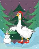 The goose builds a snowman. — Stock Vector