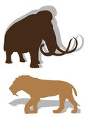The ancient died-out animals — Stock Vector