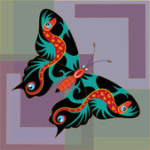 Fantastic black-red butterfly. — Stock Vector