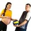 Pregnant girl with a ball — Stock Photo #18936349