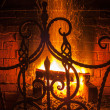 Stock Photo: Fireplace, hearth, grate