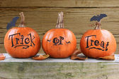 Trick or treat pumpkins — Stock Photo