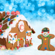 Christmas gingerbread house and man. — Stock Photo