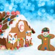 Christmas gingerbread house and man. - Stock Photo