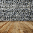 Brick wall, wood floor. - Stock Photo