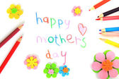 Happy mothers day card made by a child. — Stock Photo