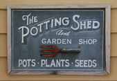 Old potting shed sign — Stockfoto