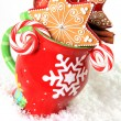 Christmas mug and cookies — Stock Photo
