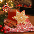 Christmas cookie and drink. — Foto de Stock