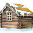 A small old wooden house with a straw roof — Stock Photo #22136983