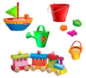 Toy boat, watering can, sand molds and toy pail, toy train — Stock Photo