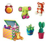 Toy Elephant, Toy tiger, box for toys, plant in the pot and cactus — Stock Photo
